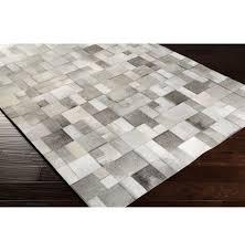 Cowhide Rug Patchwork Bursa Global Bazaar Mondrian Tile Grey White Cowhide Rug 2x3