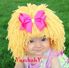 Homemade Cabbage Patch Kid Halloween Costume Baby Hat Blonde Wig Hat Wig Halloween Costume Girls