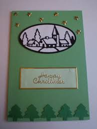 diy christmas card designs snowy village scene with gold star