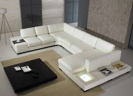Sofa Set U Shape Furniture L Shaped Leather Sectional Sofa In Grey For Living Room