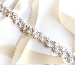 sparkly belts for wedding dresses sash pearl weave bridal belt sash in silver custom