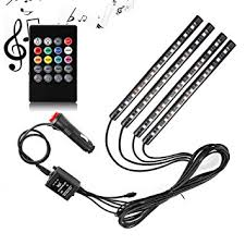 Automotive Led Light Strips Amazon Com Car Led Strip Light Surlight 4pcs 48 Led Dc 12v