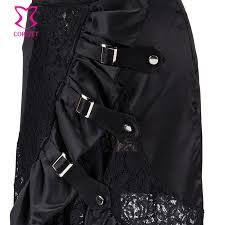 Buttons Buckles Ruffles Lace - front buckle hollow out floral lace gothic mermaid skirt thick