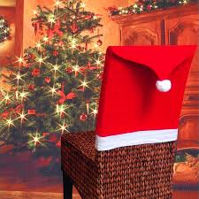 Santa Chair Covers 2017 1pc Seat Cover Santa Claus Hat Chair Covers Christmas