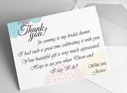 wedding shower thank you gifts bridal shower thank you card wording rudycoby net