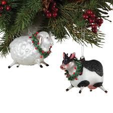 Glass Christmas Ornament Sets - holiday sheep and cow glass christmas ornaments