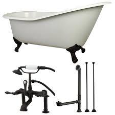 aqua eden slipper 5 ft cast iron clawfoot bathtub in white with