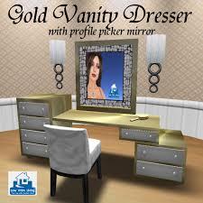 second life marketplace gold vanity dresser w profile picker