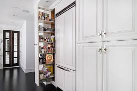Kitchen Cabinet Pantry Hidden Pantry Behind Mirrored Cabinet Door Transitional Kitchen