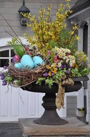 happy easter decorations easter decor with outdoor area and flowers and easter pot