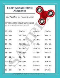 fidget spinner math practice sheets addition u0026 subtraction 4