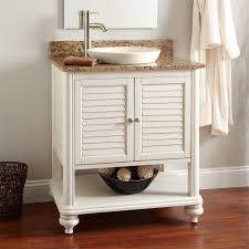 single white wooden open shelf vanity and drawers plus round white