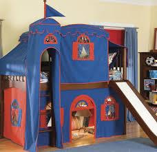 bedroom metal loft bed with slide camp bunk bed with slide blue