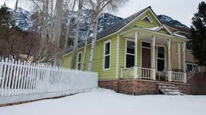 old house in small mountain town of ouray colorado stock photo