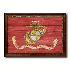 Military Home Decorations by Us Marine Corps Military Flag Canvas Print With Brown Picture