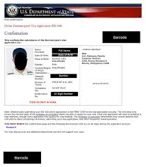filipino american visacenter ds 160 confirmation page example