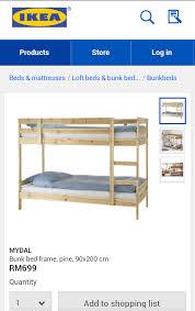 Mydal Bunk Bed Frame Ikea Mydal Bunk Bed Frame Pine 90x200 Perabot Terpakai