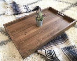 Wooden Trays For Ottomans Rustic Industrial Tray Wooden Tray Ottoman Tray Coffee Table