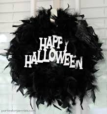 Black Halloween Wreath Halloween Feather Boa Wreath Parties For Pennies