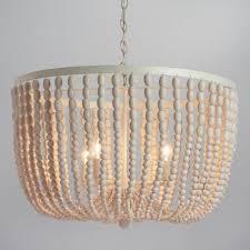 bead chandelier large antique whitewash wood bead chandelier world market