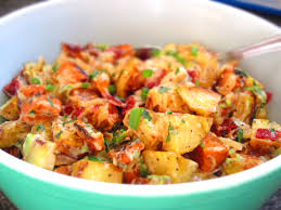 roasted garlic potato salad with bacon and green onions