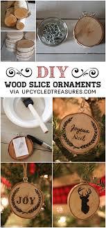 diy wood slice ornaments upcycled treasures diy wood