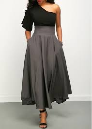 one shoulder top and belted high waist skirt rotita usd 31 44