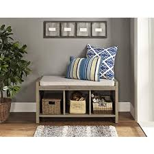 ameriwood home penelope entryway storage bench weathered oak