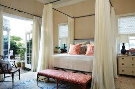 Wrought Iron Canopy Bed Iron Canopy Bed With Ivory Sheer Curtains Transitional Bedroom