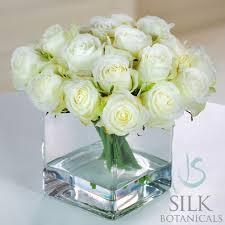 Square Glass Vase Rose Buds In Square Glass Vase 9 In White