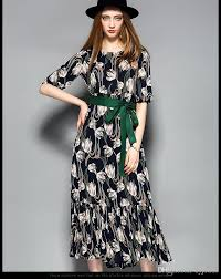 print dress the new summer 2017 female 5 minutes of sleeve of