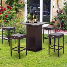 Patio Bistro Table by Outsunny 5pc Patio Rattan Bar Set Outdoor Wicker Dining Pub Bistro