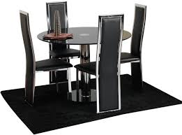 chair rectangle glass dining table frameless with black metal and