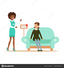 store seller showing blue sofa to woman smiling shopper in