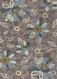 Floral Pattern Rugs Brio Daisy Chain Hand Tufted Floral Pattern Polyester Gray Blue