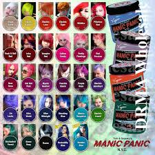 raw hair dye color chart new punk manic panic cream formula semi permanent hair color dye