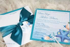 beach wedding invitations sea shells and starfish
