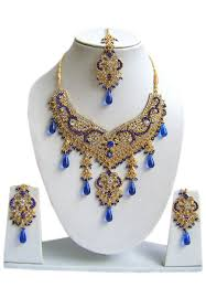 necklace set blue stone images White and blue stone studded necklace set accesssories jewelry jpg