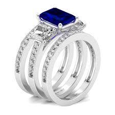 bridal sets 3 pc emerald cut sapphire cz 3 bridal set wedding ring set