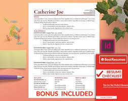 Indesign Resume Template Adobe Indesign Etsy
