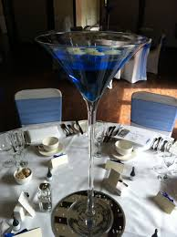 royal blue martini vase and candles table angels