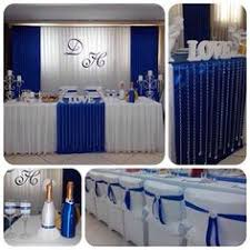 wedding backdrop blue royal blue curtains table with royal blue back drop and