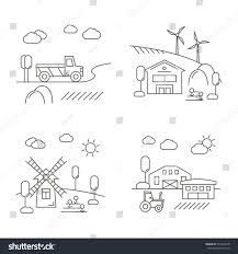 village farm lands linear style vector stock vector 577454218