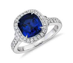 Halo Cushion Engagement Rings Cushion Cut Sapphire And Diamond Halo Ring In 18k White Gold 2 84