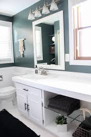 Black Painted Bathroom Cabinets How To Paint Tile Countertops And Our Modern Bathroom Reveal
