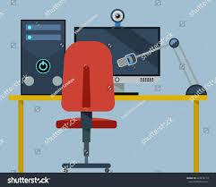 Computer Desk Microphone Desk Pc Monitor Computer Desk Microphone Stock Vector 447278119