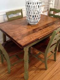Distressed Dining Table Green Bottom Brown Distressed Top - Maple dining room tables