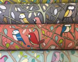 Upholstery Fabric With Birds Bird Curtains Etsy