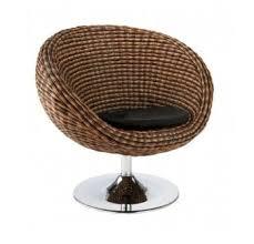 Patio Swivel Chair Modern Rattan Seagrass Swivel Chair With Chrome Base Brown Cushion