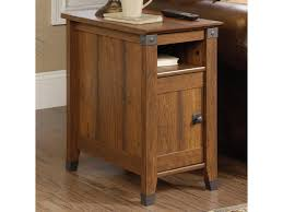 sauder carson forge rustic style side table with hiden pull out